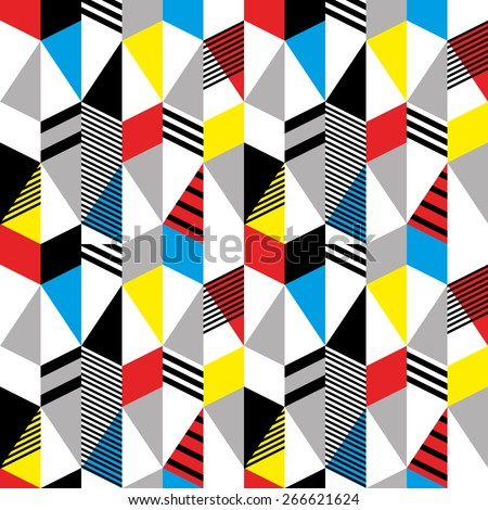 Seamless pattern in retro bauhaus style 2 - stock vector