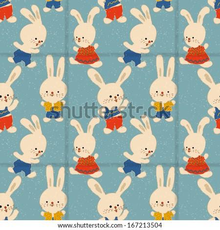 Seamless pattern in retro-style. Cartoon rabbits. - stock vector