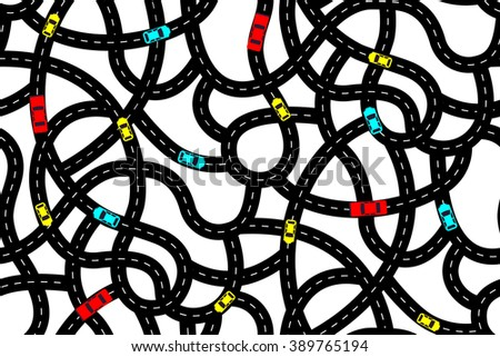 Seamless pattern in the form of intertwining roads with cars - stock vector