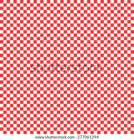 Seamless pattern in the pixel-style of the squares of the chessboard-style red and white