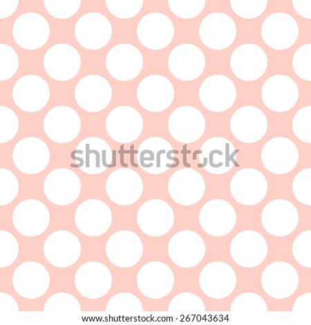 Seamless pattern in the style of polka dot big fat white and pale peach - stock vector