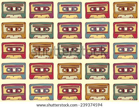 Seamless pattern in vintage style. Old audio cassette on a light background. Vector