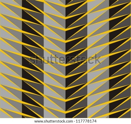 Seamless pattern in zigzag with line black and yellow - stock vector