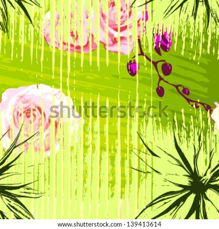 seamless pattern Irregular grid with flowers, Vector - stock vector