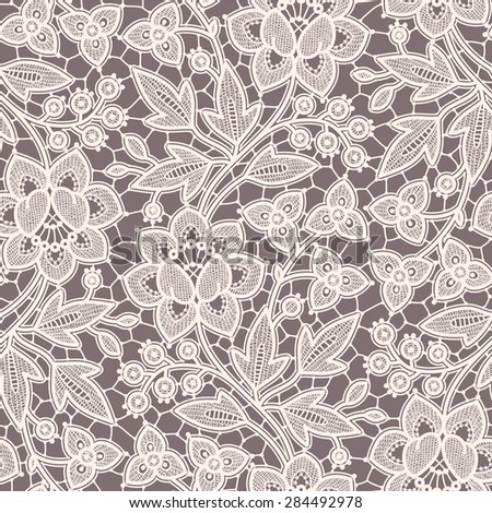 Seamless Pattern Lace. Gray Background. - stock vector