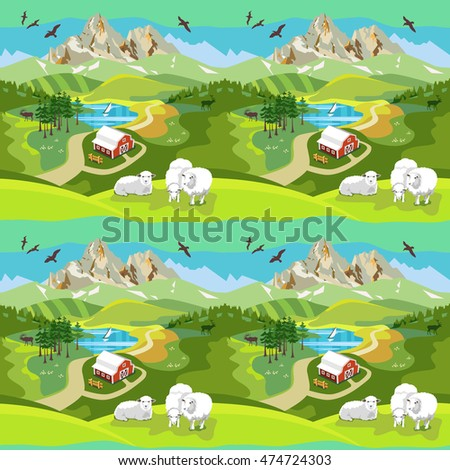 Seamless pattern. Landscape with the image of a farm, mountain, lake, forest and meadow. On a hill sheep grazing. Vector illustration.