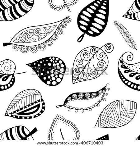 Seamless pattern leafs black contour on white background. Vector illustration.