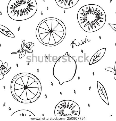 Seamless pattern lemons, kiwi slices. black and white - stock vector