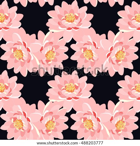 seamless pattern lotus flower pink close up on a black background vector illustration
