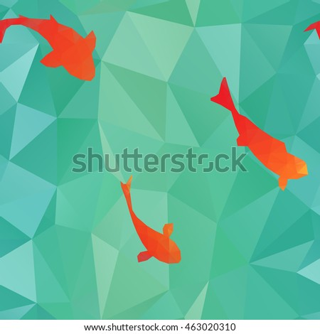 Seamless pattern: low poly red fishes on triangulated water background