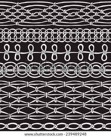 Seamless Pattern Macrame Black & White - stock vector