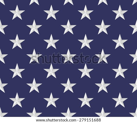 Seamless pattern made from five pointed 3D stars - stock vector