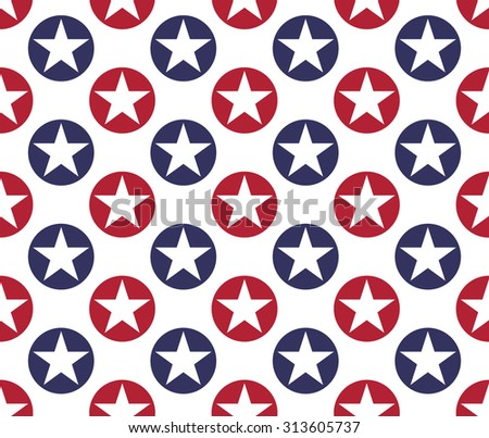 Seamless pattern made from five pointed stars in circles
