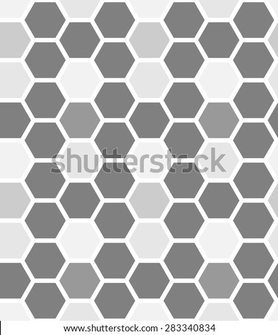 Seamless pattern made from gray hexagons - stock vector