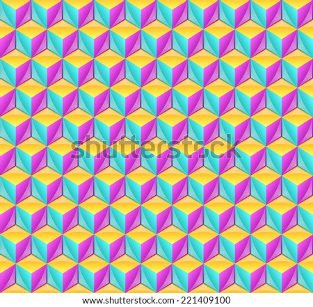 Seamless pattern made from three dimensional cubes - stock vector