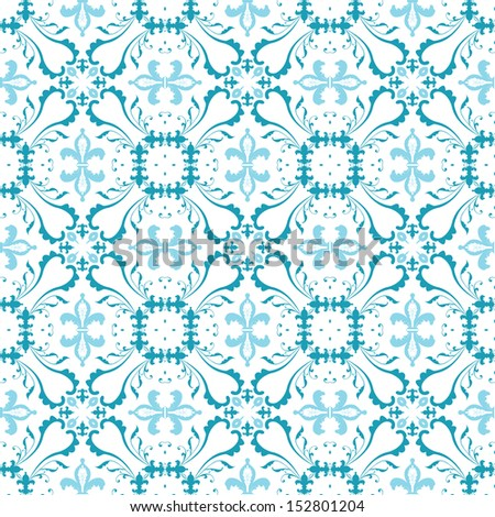Seamless pattern made of blue floral elements on white background