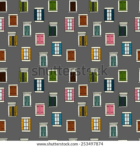 Seamless pattern made of colorful hand drawn sketchy italian windows on dark grey background. - stock vector