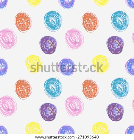 seamless pattern made of hand-drawn circles, vector illustration - stock vector