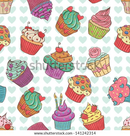 Seamless pattern made of hand drawn cupcakes. - stock vector