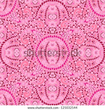 Seamless pattern made of paisley. Bright pink. - stock vector