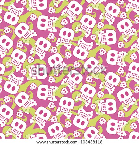Seamless pattern made of Skulls and green smoke in a teenage appearance - stock vector