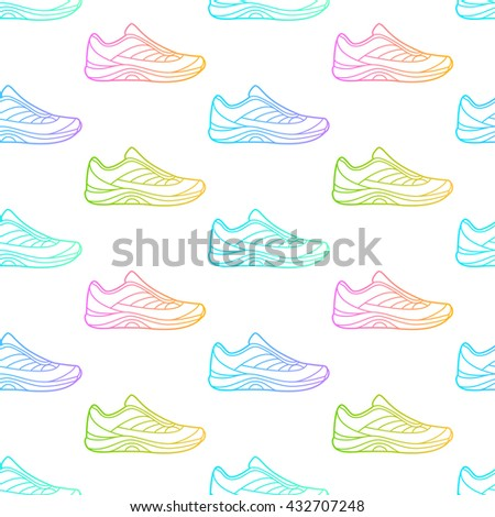 Seamless pattern made of sneakers on white background