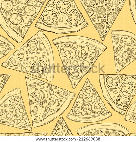 Seamless pattern made of tasty pizza slices. - stock vector