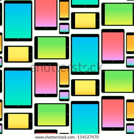 Seamless Pattern made with Mobile Devices colorful, vector illustration.  - stock vector
