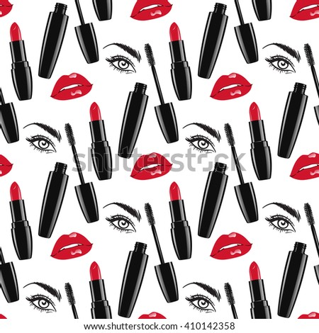 Seamless pattern makeup - red glossy lips and lipsticks, mascara and female eye isolated over white background. Wrapping paper or box design vector illustration - stock vector