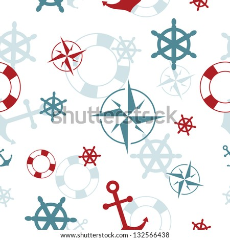 Seamless pattern: maritime symbols - anchor, life buoy, the wind rose, the steering wheel - stock vector