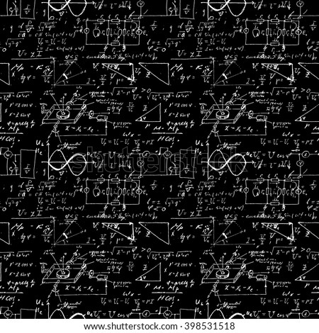 Seamless pattern, mathematical operations and elementary functions, endless arithmetic black background. Real handwritten solutions. Geometry, math, physics, electronic engineering subjects. Lectures. - stock vector
