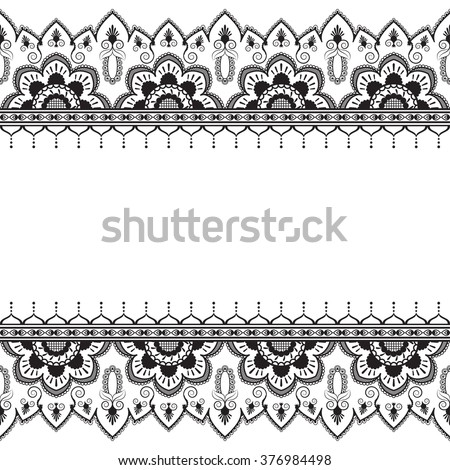 Seamless pattern mehndi border elements in Indian style with flowers for tattoo or card on white background.  Vector illustration
