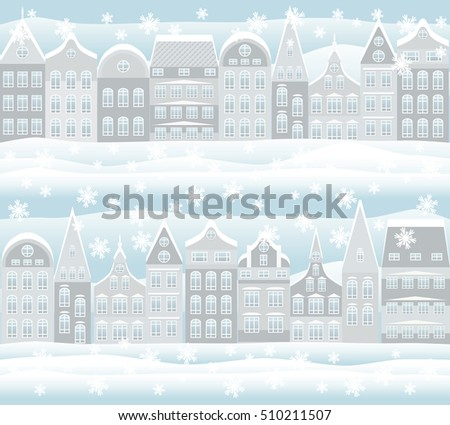 Seamless pattern. Merry Christmas and New Year holidays card with snowy city, vector illustration