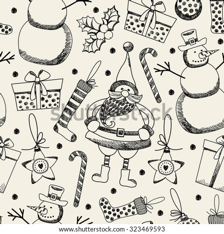 "Seamless pattern ""Merry Christmas."" Freehand drawing."