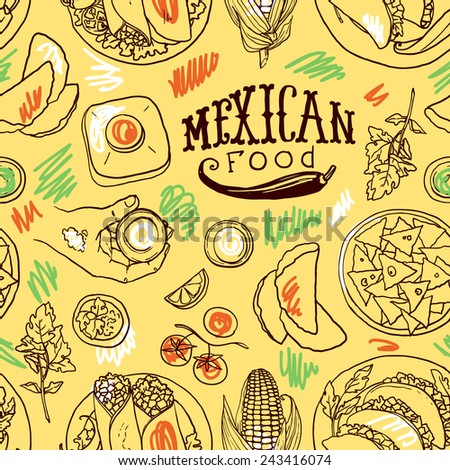 seamless pattern mexican food