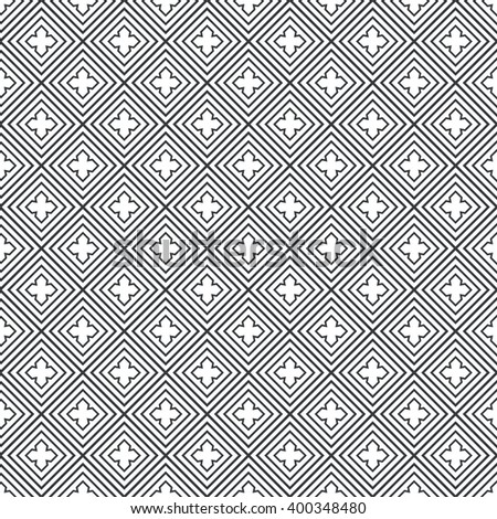 Seamless pattern. Modern stylish geometric texture with regularly repeating linear rhombuses, diamonds, crosses. Vector element of graphic design