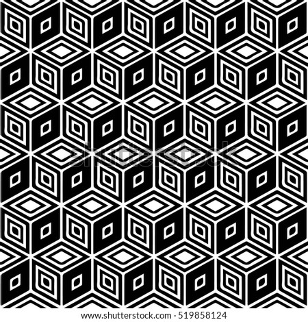 Seamless pattern. Monochrome repeating background with Isometric cubes with lined faces. Abstract geometric pattern. Vector illustration