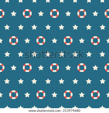 Seamless pattern. Nautical style. Lifebuoy and stars on a blue background.
