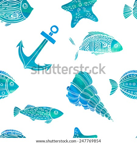 Seamless pattern. Nautical theme: fish, shells, anchor. Watercolor texture. Vector. - stock vector
