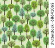 seamless pattern of a green forest - stock vector
