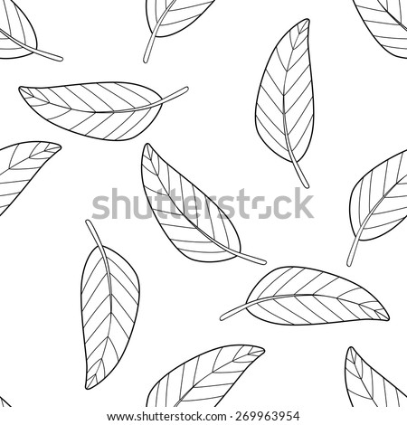 Seamless Pattern Of A Lot Mango Leaves On White Background In The Shadeful Forest Collection