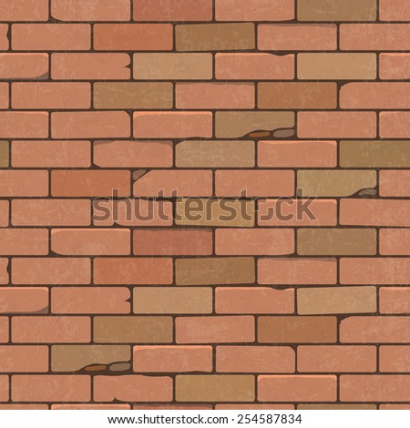 Seamless pattern of a red brick wall. Vector illustration. - stock vector