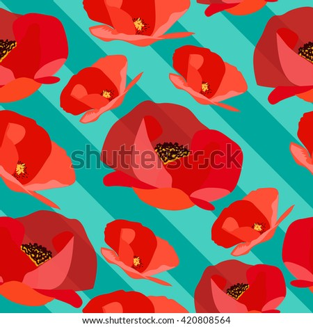 Seamless pattern of abstract poppy on strips. Vector illustration - stock vector