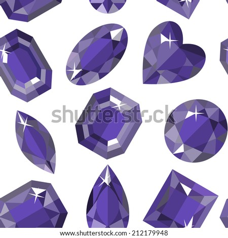 Seamless pattern of amethyst of various shapes. Vector illustration. - stock vector