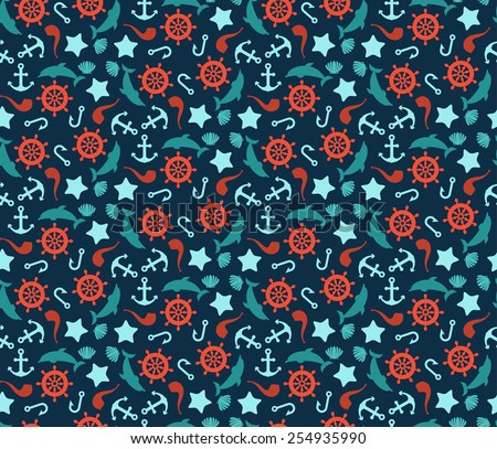 Seamless pattern of anchor, wheel, dolphins and sea stars. Use to create quilting patches or seamless backgrounds for various craft projects. Marine symbol. Sea leisure sport tiling. - stock vector