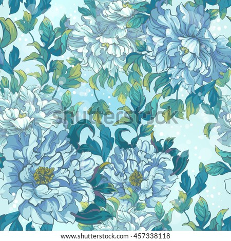 Seamless pattern of Asian blue flowers peonies.