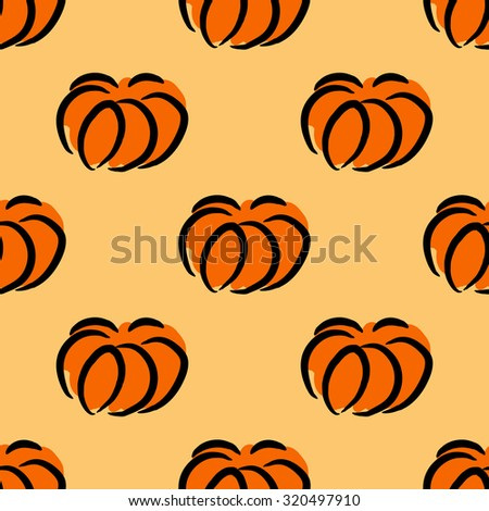 Seamless pattern of autumn ripe pumpkins. Harvest of pumpkins. - stock vector