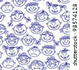 Seamless pattern of baby cartoon faces - stock photo