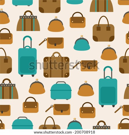 Seamless pattern of bags, luggage, baggage  - stock vector