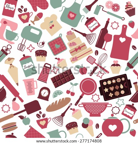 Seamless pattern of bakery and sweets - stock vector